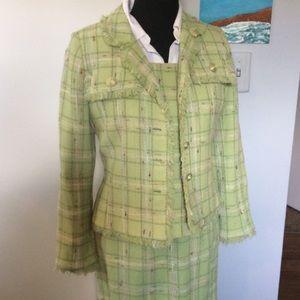 3 Pc Carlisle FRINGED Blazer Skirt top set Plaid